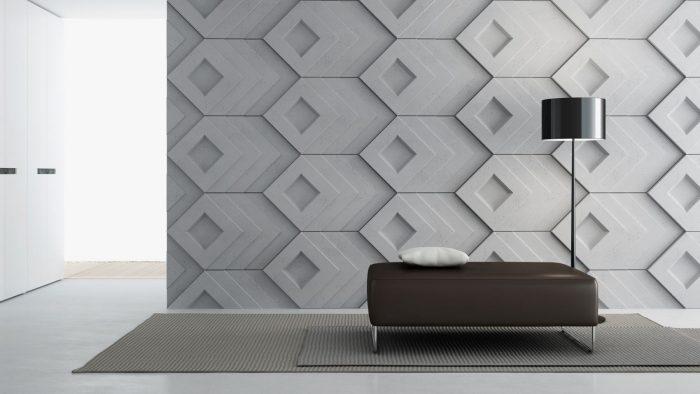 Wizualizacja ściany w salonie wyłożonej panelami SLAB