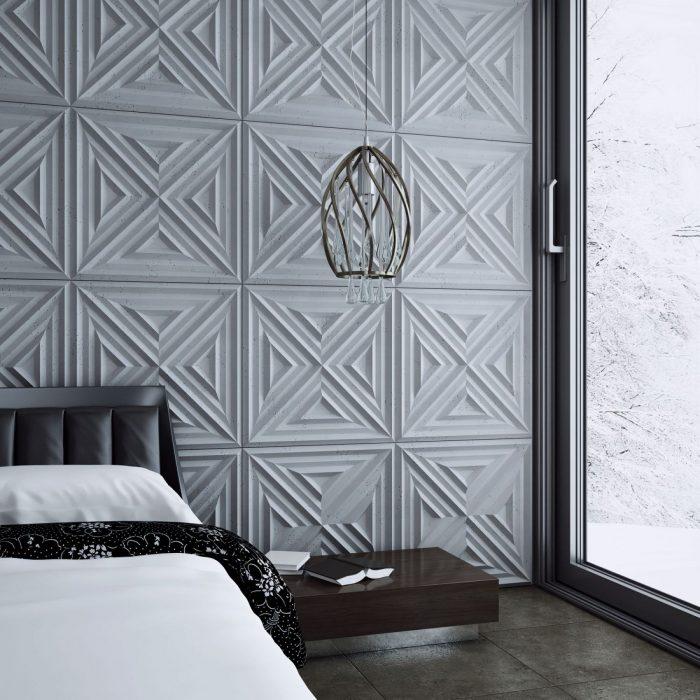 Ściana w sypialni z betonowych paneli 3d SLAB 2