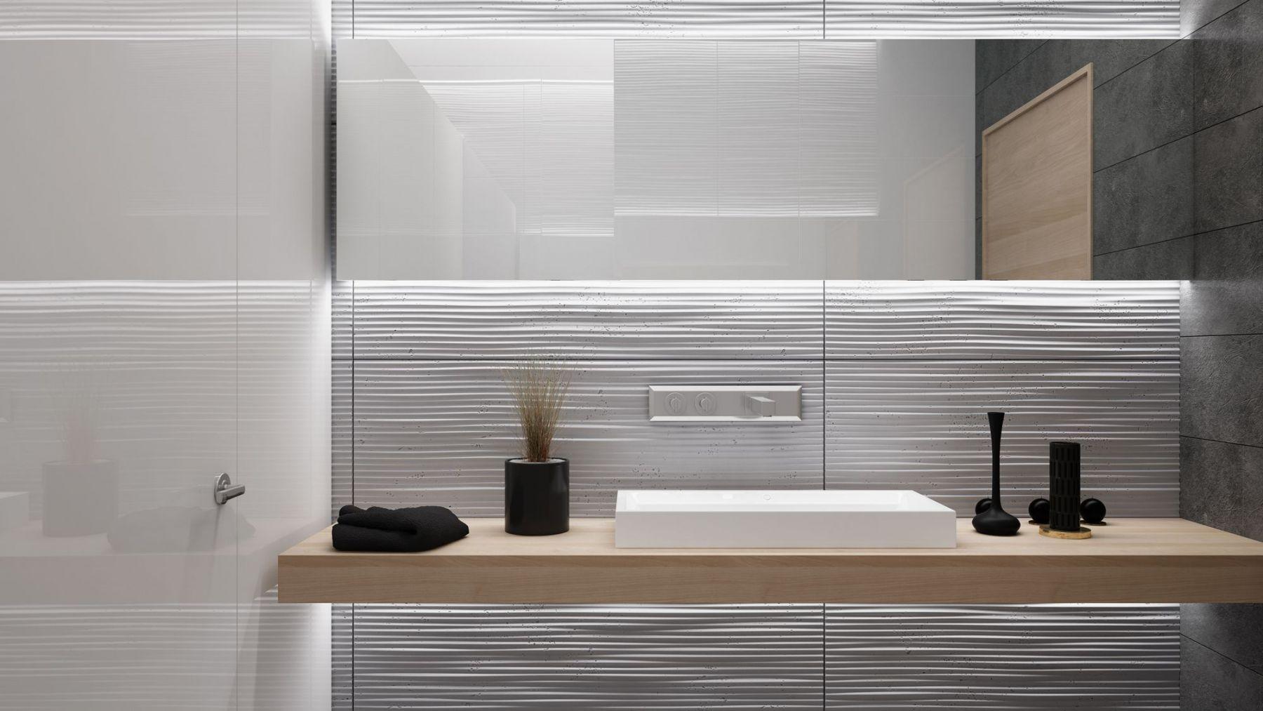 Ściana w łazience z paneli 3d PB23 FALA2