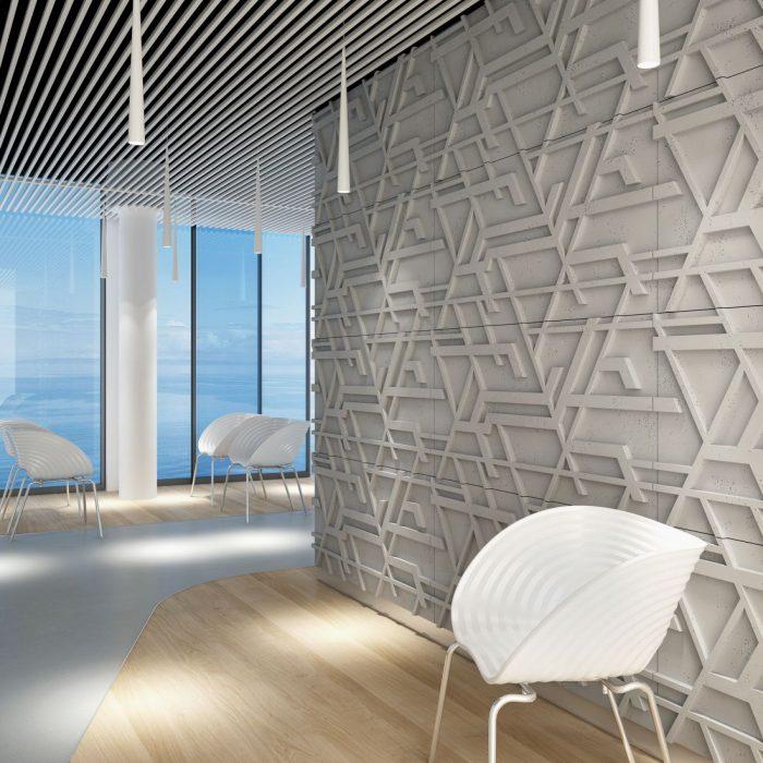 Przykład ściany z paneli 3d PB27 KOR Centrum Betonu Architektonicznego