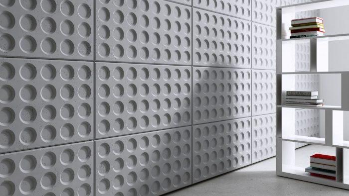 Realizacja- ściana wykonana z paneli 3d GRID Centrum Betonu Architektonicznego