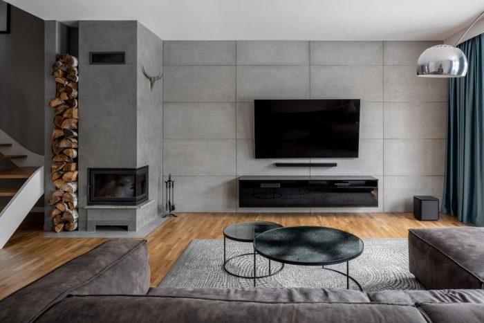 Szary naturalny płyta ścienna z betonu architektonicznego